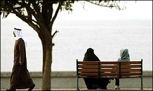 Kuwaiti residents relax along the Persian Gulf