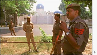 Security forces outside Pakistan mission in Delhi