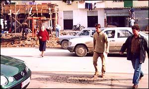 A street scene in Tirana