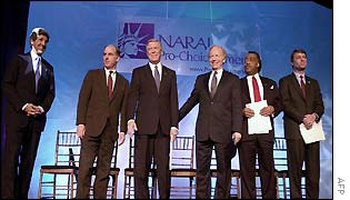 Democrat contenders: (from left) Kerry, Dean, Gephardt, Lieberman, Sharpton, Edwards