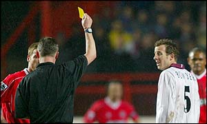 Charlton's Scott Parker (left) and West Ham's Lee Bowyer are both booked after a fiery clash