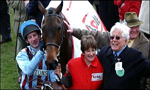 The connections of Best Mate celebrate their victory in the 2002 Cheltenham Gold Cup