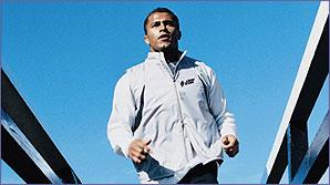 Jason Robinson takes a jog on a very sunny day