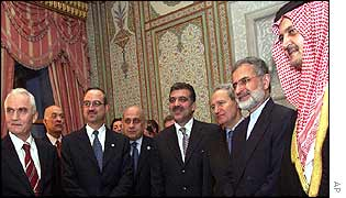Regional foreign ministers with Turkish Prime Minister Abdullah Gul (centre)