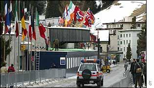 Police car patrolling Davos streets