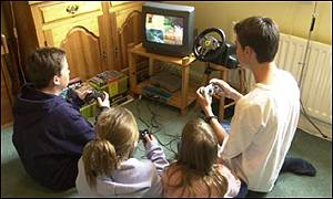 Family play video game