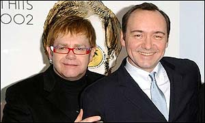 Sir Elton John and Kevin Spacey at the 2002 Music Industry Trusts Awards and Dinner