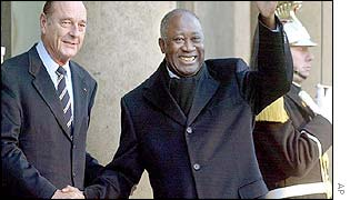 President Chirac of France with Laurent Gbagbo on Friday