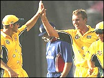 Brett Lee celebrates one of his five wickets