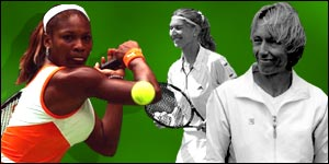 Serena Williams, Steffi Graf and Martina Navratilova