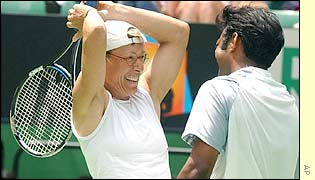 Martina Navratilova and Leander Paes begin the celebrations