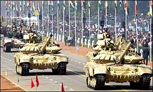 Russian made T90 tanks recently acquired by the Indian army
