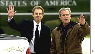 UK Prime Minister Tony Blair and US President George Bush