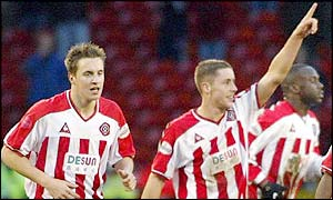 Sheffield United goalscorers Phil Jagielka (left) and Michael Brown