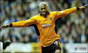 Wolves striker George Ndah celebrates in the 4-1 win against Leicester