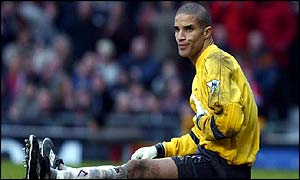 West Ham keeper David James was beaten six time