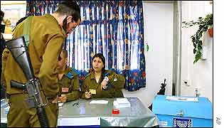 Israeli soldier being shown voting procedure