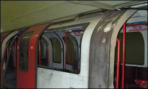 Damaged tube train