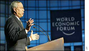 Colin Powell speaking at Davos
