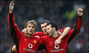 Manchester United stars (from left) David Beckham, Roy Keane and Ryan Giggs celebrate the 6-0 thrashing of West ham
