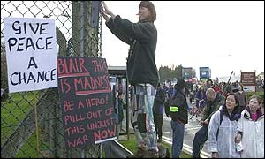 Peace demonstrators at RAF Fairford in Gloucester