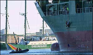 Greenpeace's flagship Rainbow Warrior at Marchwood port