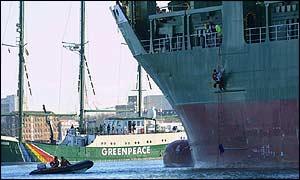 Greenpeace's flagship Rainbow Warrior at Marchwood port