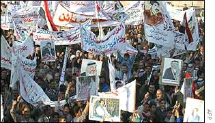 Demonstrators in Baghdad support the Iraqi president