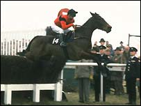 Dawn Run and Jonjo O'Neill en route to winning the Cheltenham Gold Cup