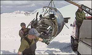 Wreckage of one of the jets