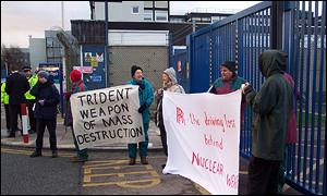 Protestors demonstrate outside the Rolls Royce plant