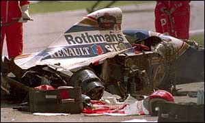 The wreckage of Senna's car at Imola