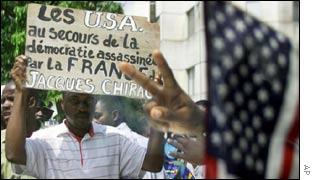 Demonstrators outside the US embassy in Abidjan