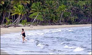 A tourist on a beach in Fiji