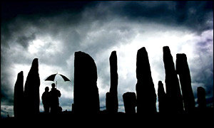 Tourists at Callanish on the Isle of Lewis