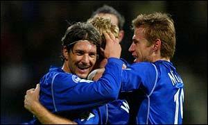 Pistone and McBride mob Everton scorer Steve Watson