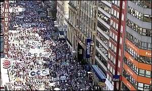 Protestors in Buenos Aires