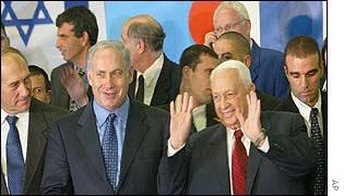 Ariel Sharon and Foreign Minister Binyamin Netanyahu (2nd from left)