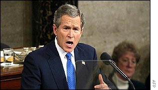 President Bush delivering the State of the Union speech