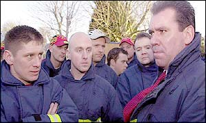 Firefighters meet Andy Gilchrist (right)