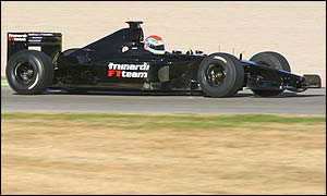 Minardi's Justin Wilson tests the car in Spain ahead of the new season