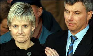Sally Clark and her husband Stephen outside court