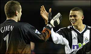 Shay Given (left) and Jermaine Jenas celebrate their win at Spurs