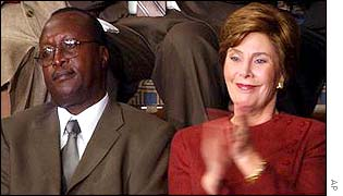 Ugandan Aids doctor Peter Mugyenyi with Laura Bush