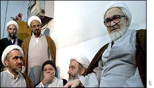 Ayatollah Hussain-Ali Montazeri with well-wishers