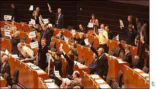 European parliamentarians hold anti-war protest