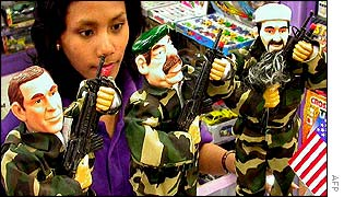 A toy shop in Indonesia displays dolls of Bush, Saddam and Bin Laden