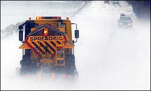 A snow plough on the North Yorkshire moors