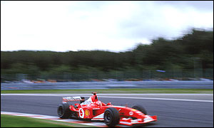 Michael Schumacher at the Belgian Grand Prix last year