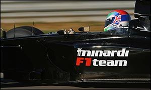Minardi driver Justin Wilson testing in Valencia